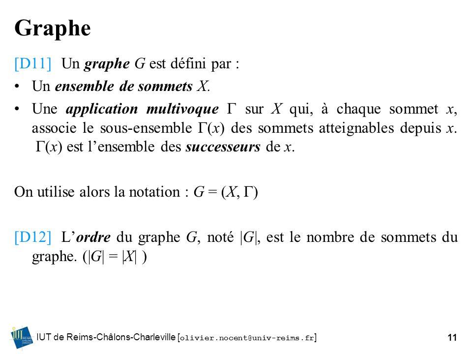 Graphe [D11] Un graphe G est défini par : Un ensemble de sommets X.